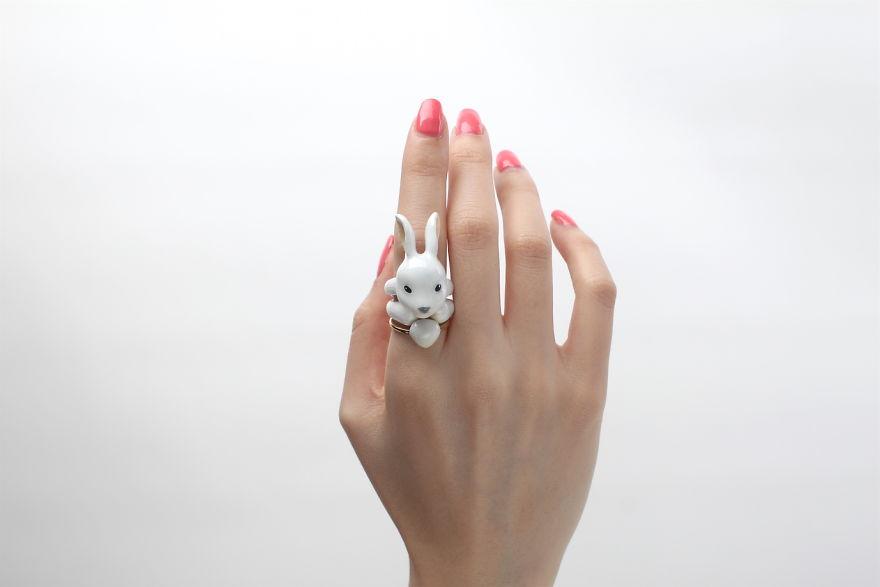 Mary Lou Rabbit Trio Ring