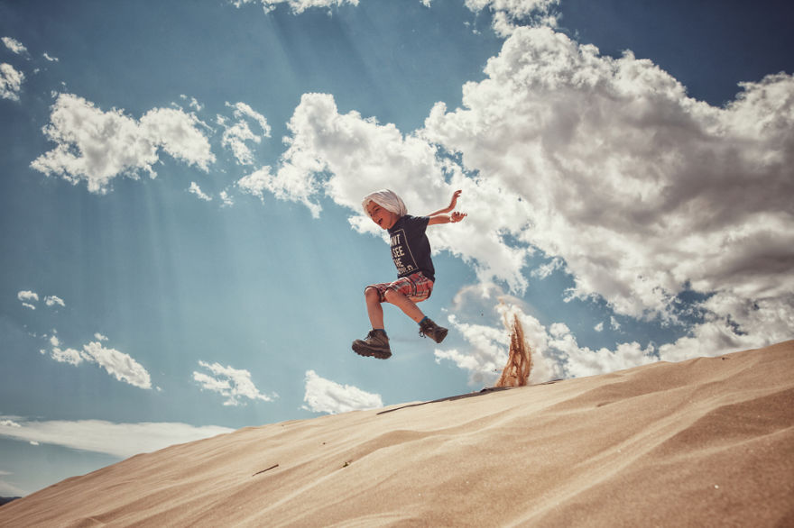 Vladimir, Jumping The Sand Dunes Of Elsen Tasarkhai, Mongolia
