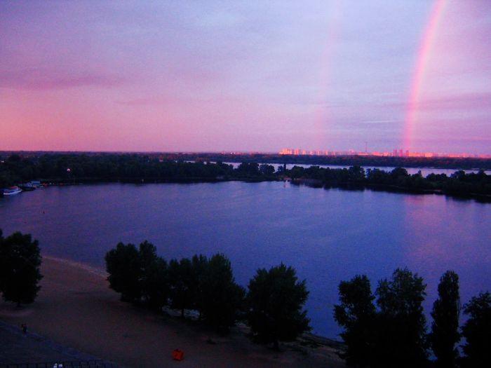 Double Rainbow Captured Above The Dnieper River In Kiev, Ukraine