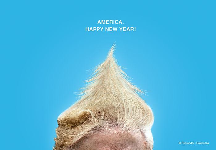 Trump Hair Christmas Tree Card