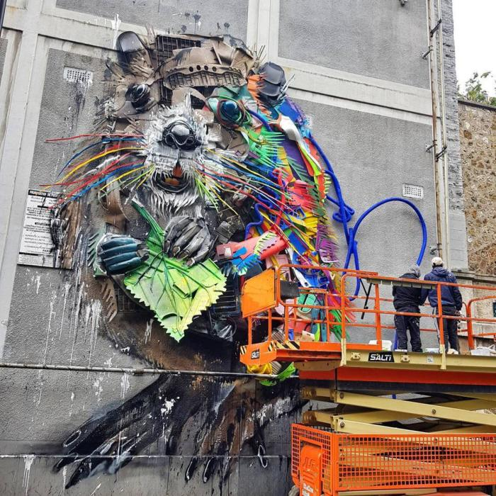 Bordalo I I Makes Art With Recycled Garbage In Paris And The Result Is Catching Everyone's Attention