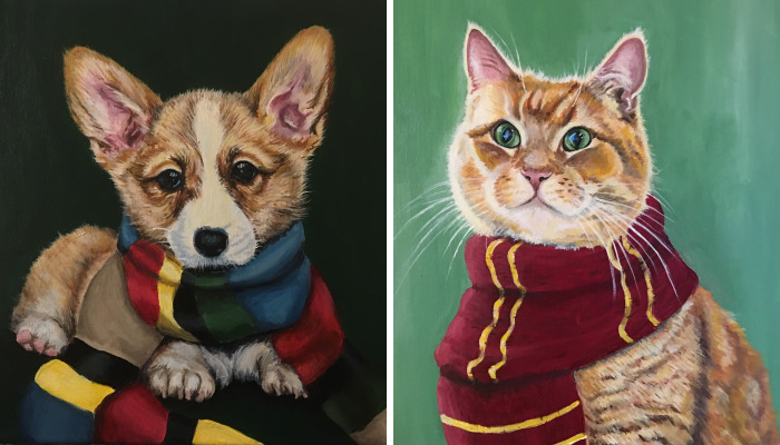 I Paint Harry Potter Themed Pet Portraits
