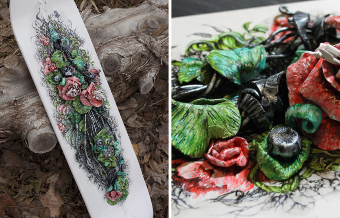 Hand Painted Skatedeck With Sculpture