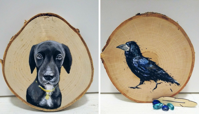 I Paint Animal Portraits On Slices Of Wood