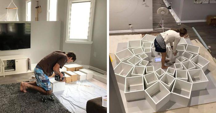 Esta pareja vio en internet el diseño para una estantería casera, pero no imaginaban que les saldría tan bien