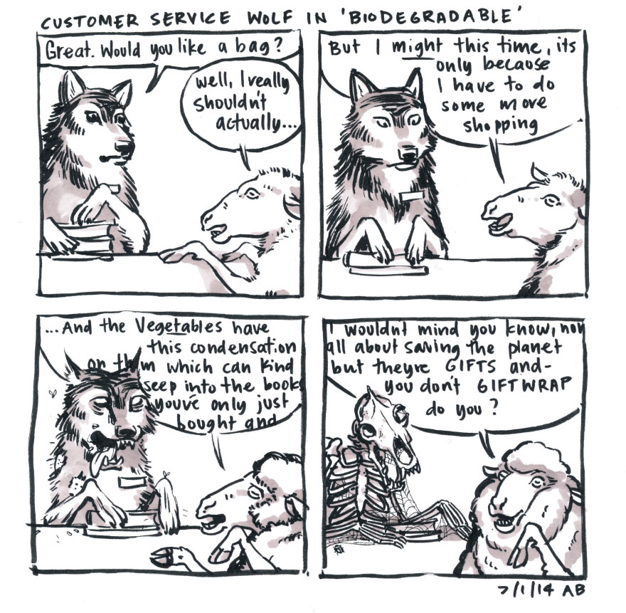 Customer Service Wolf In 'Biodegradable'