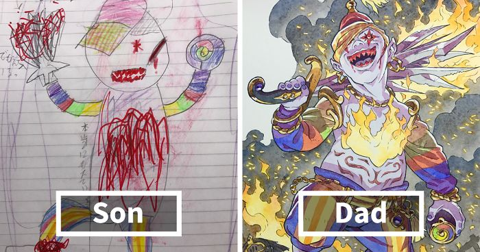 Guy Turns Son S Drawings Into Character Design