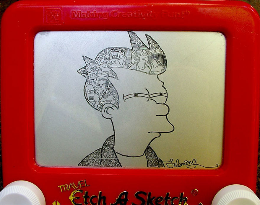 Etch-A-Sketch Artist Creates Mind-Blowing Works By Simply Turning The Dials | Bored Panda