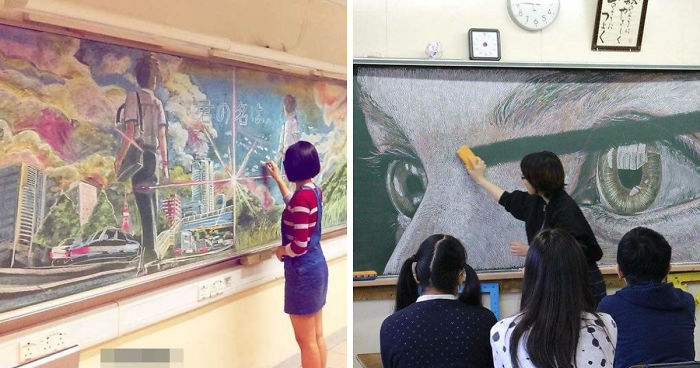 Students Create Amazing Chalk Drawings On Classroom Blackboard, And Seeing Teacher Erase Them Will Break Your Heart