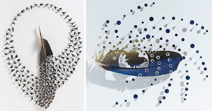 I Use Eye Surgery Scissors And Scalpels To Carve Feathers Into Intricate Art (New Pics)