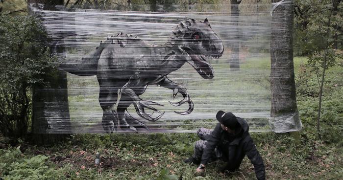 [ENG] Dibuja animales en fundas de plástico en el bosque con un resultado impresionante