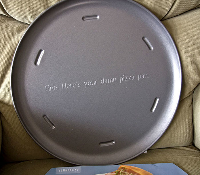 For Years, My Dad Put A Pizza Pan On His Christmas List, And I Refused To Get It Because It Was Too Boring Of A Gift. This Year, I Finally Broke Down And Got Him One. And I Got It Engraved