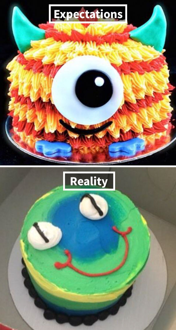 My Aunt Ordered This Cute Monster Cake For Her Son's Birthday And This Is What They Gave Her