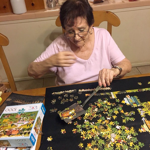My Grandma Has A Spatula She Uses To Move Around Completed Sections Of Her Puzzle
