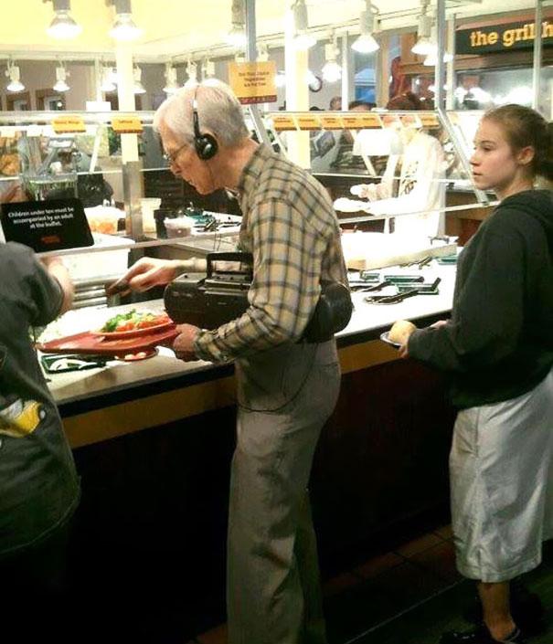 Grandpa Likes To Take Some Beats Wherever He Goes