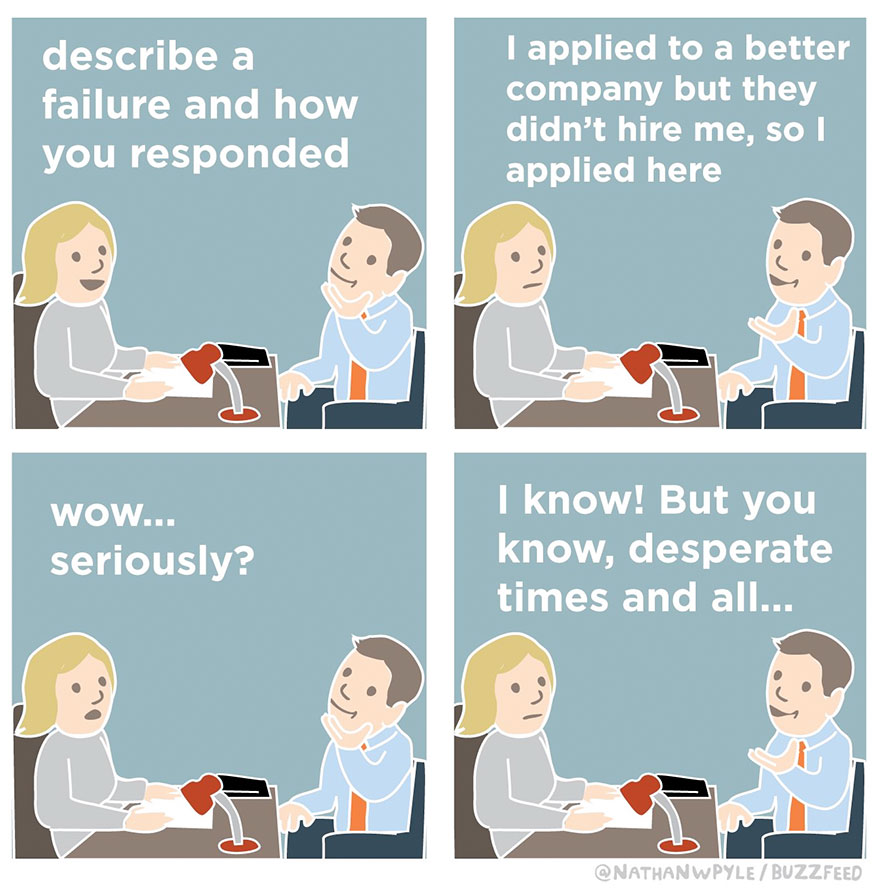 Hilarious Comics Show What Not To Say During Job Interviews - Funny illustrations show how job interviews would go at famous companies