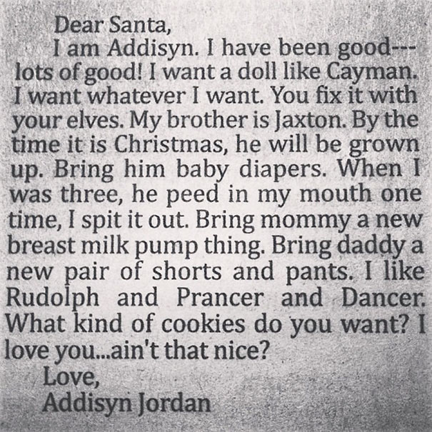 Addisyns Letter To Santa!! Cutest And Funniest Thing I've Ever Read!