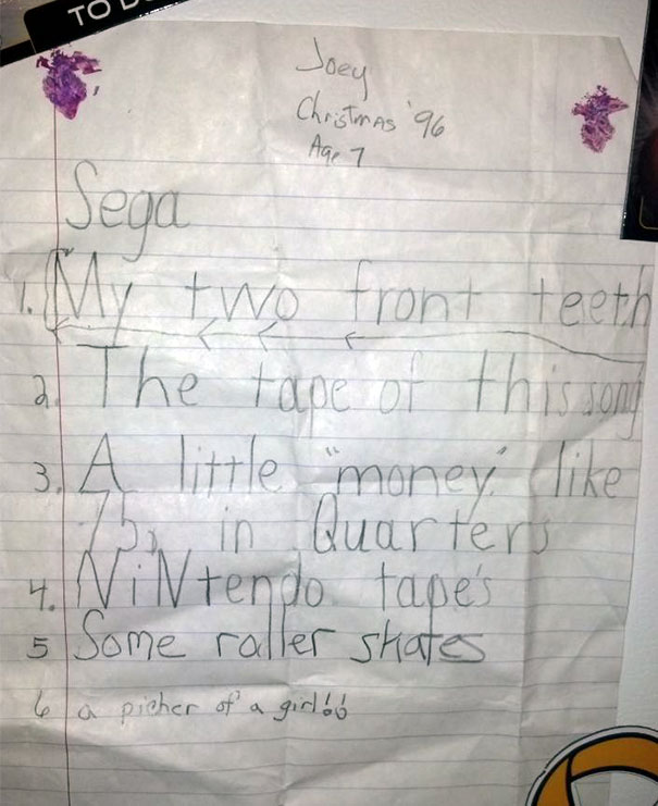 My Christmas List When I Was 7