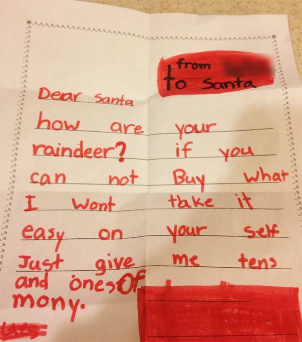 My Daughter's Letter To Santa