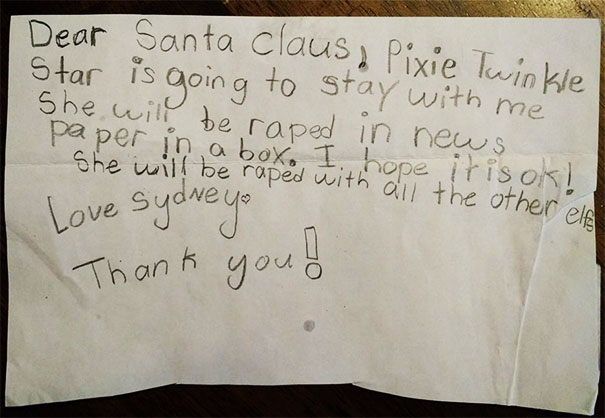 My Niece's Letter To Santa. At Least She Asked For His Permission!