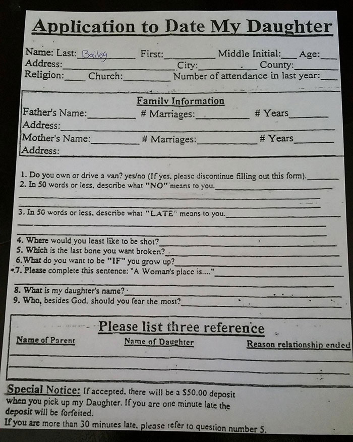 I Asked My Friend To Prom, And Her Dad Made Me Fill Out This Application