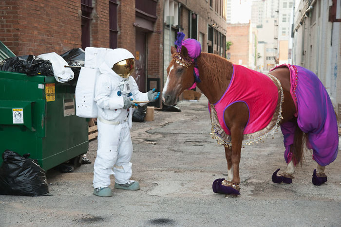 Astronaut Asking For Wishes From A Horse Genie
