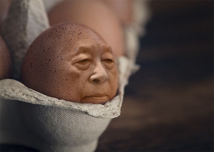 Man Photoshopped Onto Egg