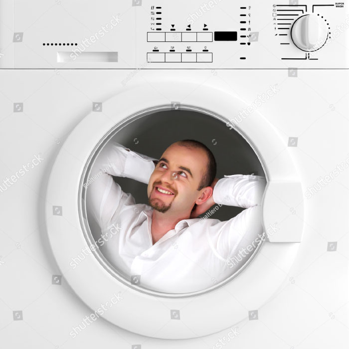 Man Has Relax Time Inside Of Washing Machine