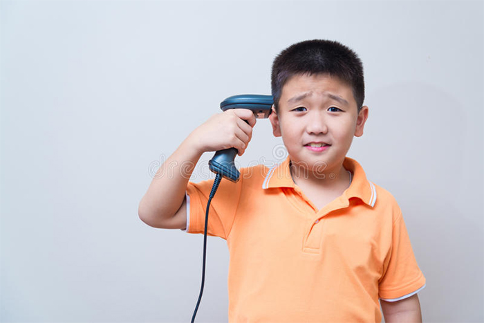 A Young Boy Trying To Kill Himself With A Barcode Scanner