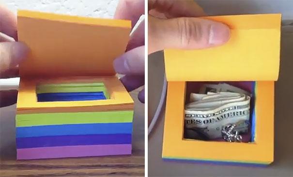 Hiding Spot Inside Sticky Notes