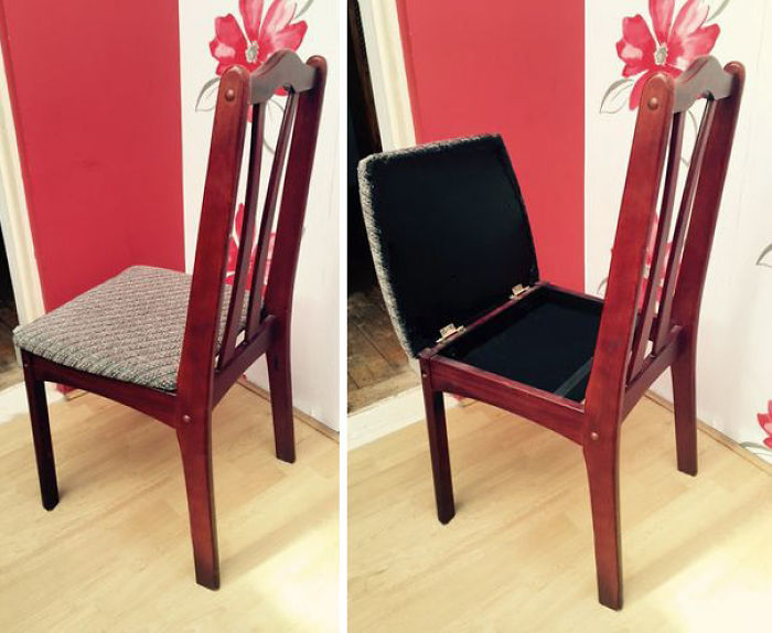 Compartimento oculto en una silla