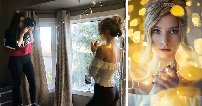 Photographer Reveals How To Take Stunning Portraits With Christmas Lights In Ordinary Bedroom, And Results Will Amaze You