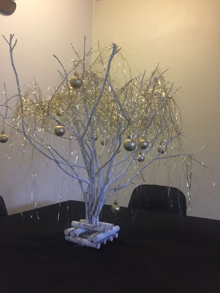 Some Branches, White Spray Paint And A Little Golden Bedazzle