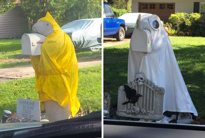 """""""Mi vecino tiene un buzón en forma de manatí al que disfraza durante todo el año, y estoy obsesionado con ello"""""""