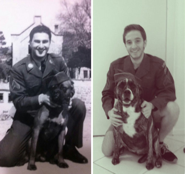 The Greatest Man I Know. My Grandfather And I, 60 Years Apart, Both Taken At 23-Years-Old And In The Same Jacket
