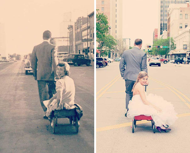 Recreated My Grandparents' Wedding Photo From 1954 At Our Own Wedding On Friday
