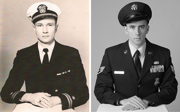 Here Is A Side By Side Picture Of My Grandfather (World War II) And Myself (Current War)