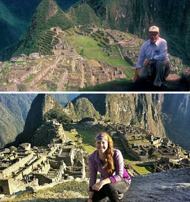 My Grandfather And I At Machu Picchu, Taken 22 Years Apart