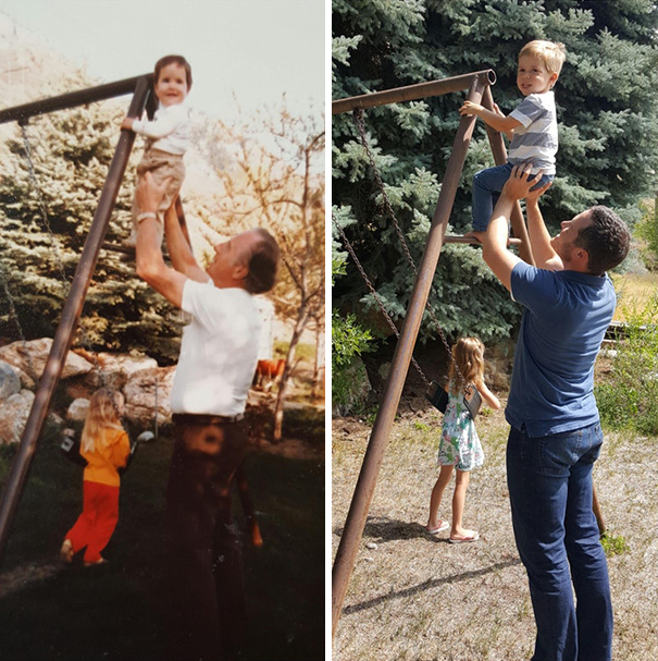 My Grandma Passed Away And The Family Decided To Sell The House. I Found A Picture Of My Grandpa And Me (Circa 1984) In A Box While Cleaning And Recreated It With My Children