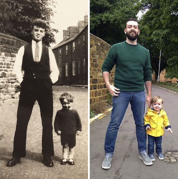 My Grandpa And My Son With Their Daddies, 82 Years Apart
