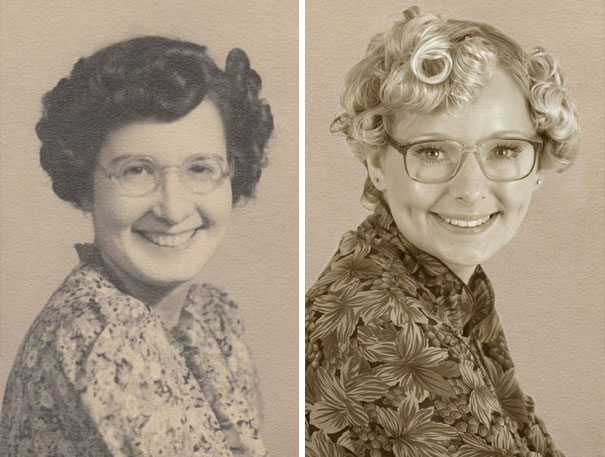 Recreating Old Vintage Photographs Of Relations. This Is Louise And Her Grandmother