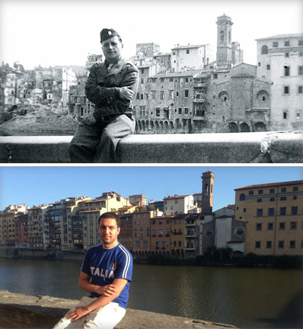 Sitting Exactly Where My Grandfather Sat In WWII, 1944 VS. 2014. Arno River, Florence Italy