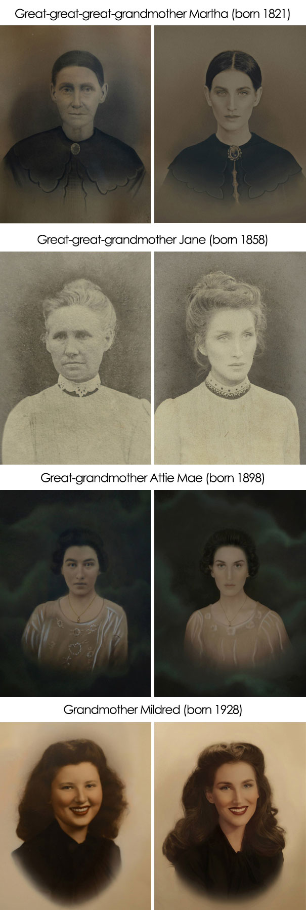 I've Recreated The Old Photos Of My Ancestors Going Back 200 Years