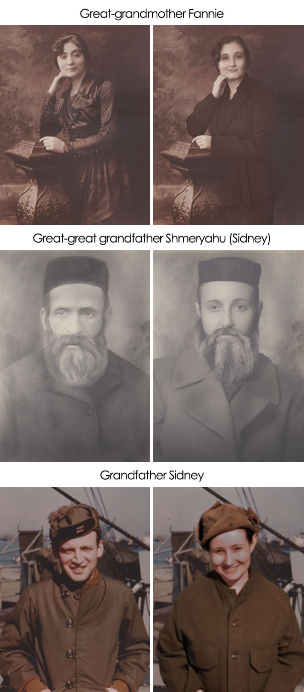 I Recreated Some Photos Of My Grandparents. The Pictures Highlight Family Resemblance, Showing That Many Different Family Members' Features Can Be Found In One Person's Face