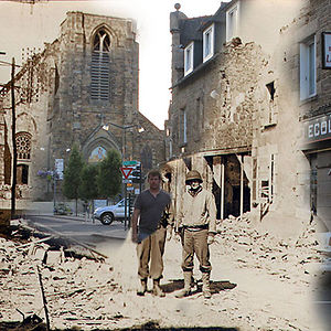 Standing Next To My Grandfather On The Streets Of Pleurtuit, France In 1944 And 2013