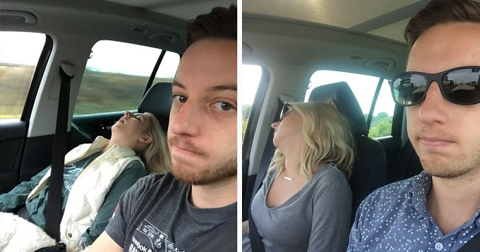 Husband Compiles Photos From All The Fun Road Trips He Takes With His Wife, And The Result Is Just Too Funny