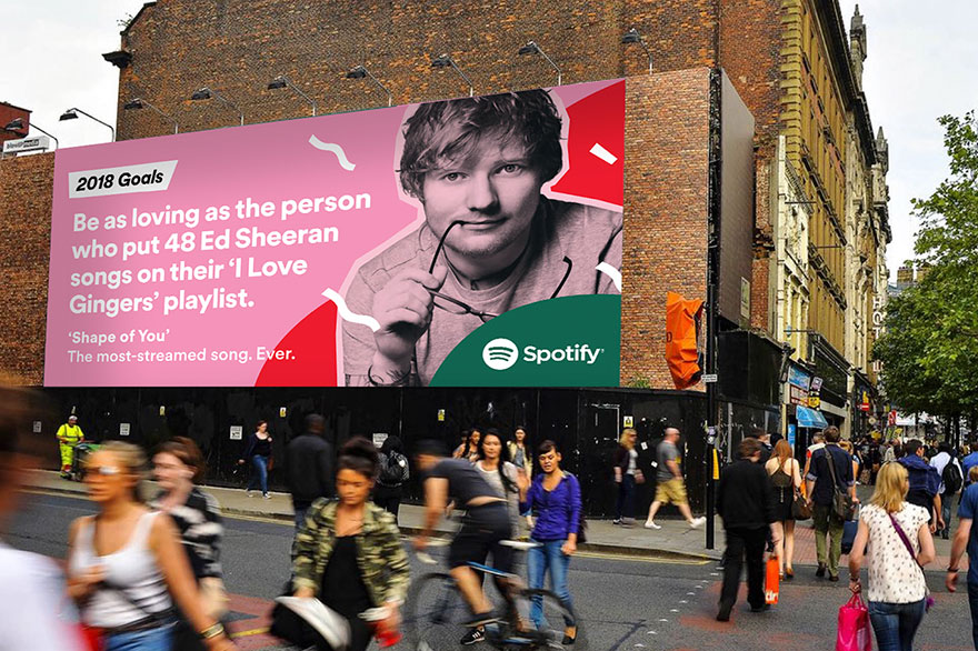 2018 Goals Spotify >> Spotify Reveals Its Users' Most Embarrassing Listening Habits For 2017 On Giant Billboards, And ...