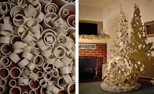 We Made A Christmas Tree From An Old Tire, A Bucket, And 40Ft Of PVC Pipe