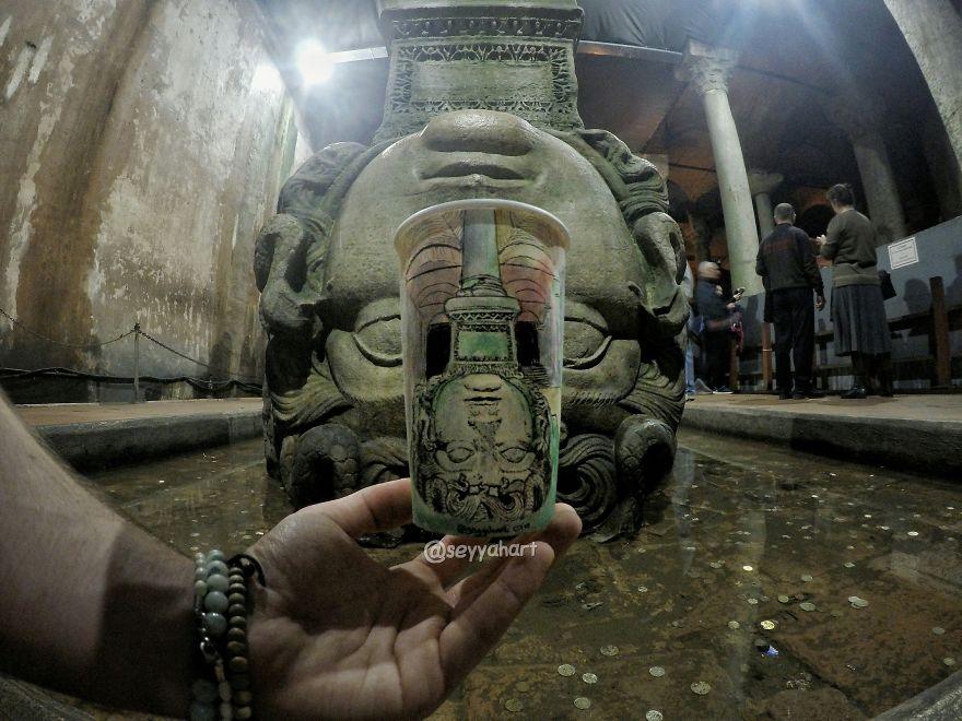 Basilica Cistern's Most Famous Column, Medusa Head