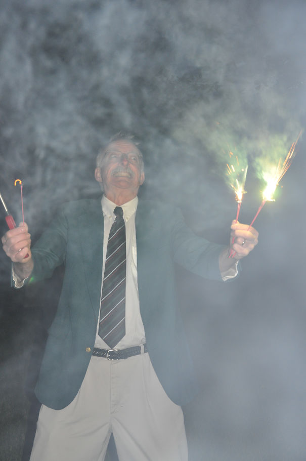 Had Sparklers At My Wedding Reception Last Night. I Think They Won Over My Father-In-Law